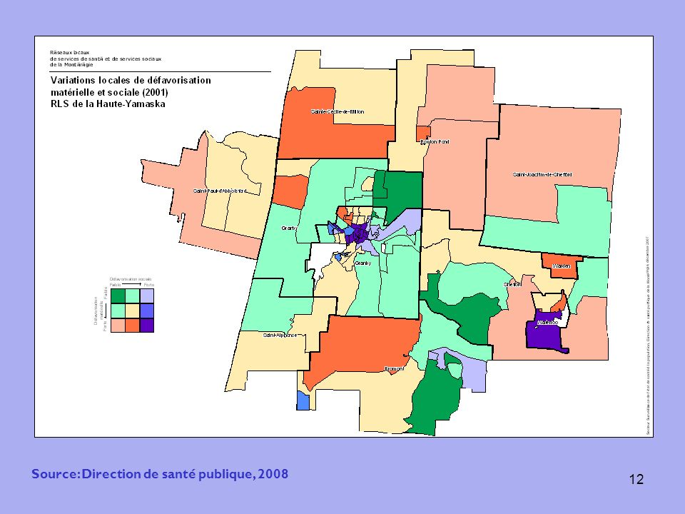 12 Source: Direction de santé publique, 2008