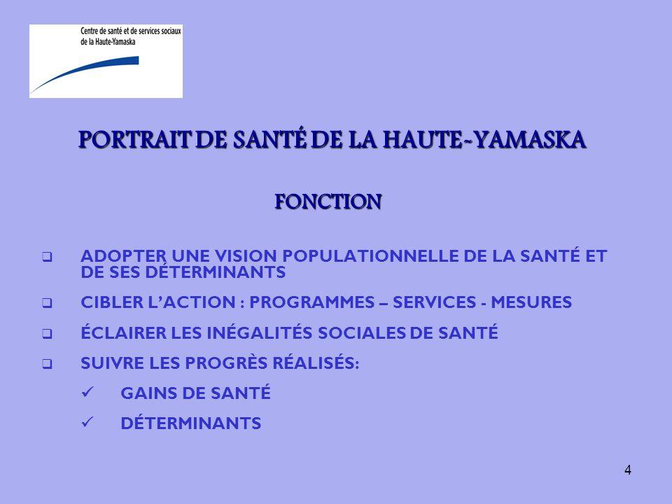 4 PORTRAIT DE SANTÉ DE LA HAUTE-YAMASKA FONCTION ADOPTER UNE VISION POPULATIONNELLE DE LA SANTÉ ET DE SES DÉTERMINANTS CIBLER LACTION : PROGRAMMES – S
