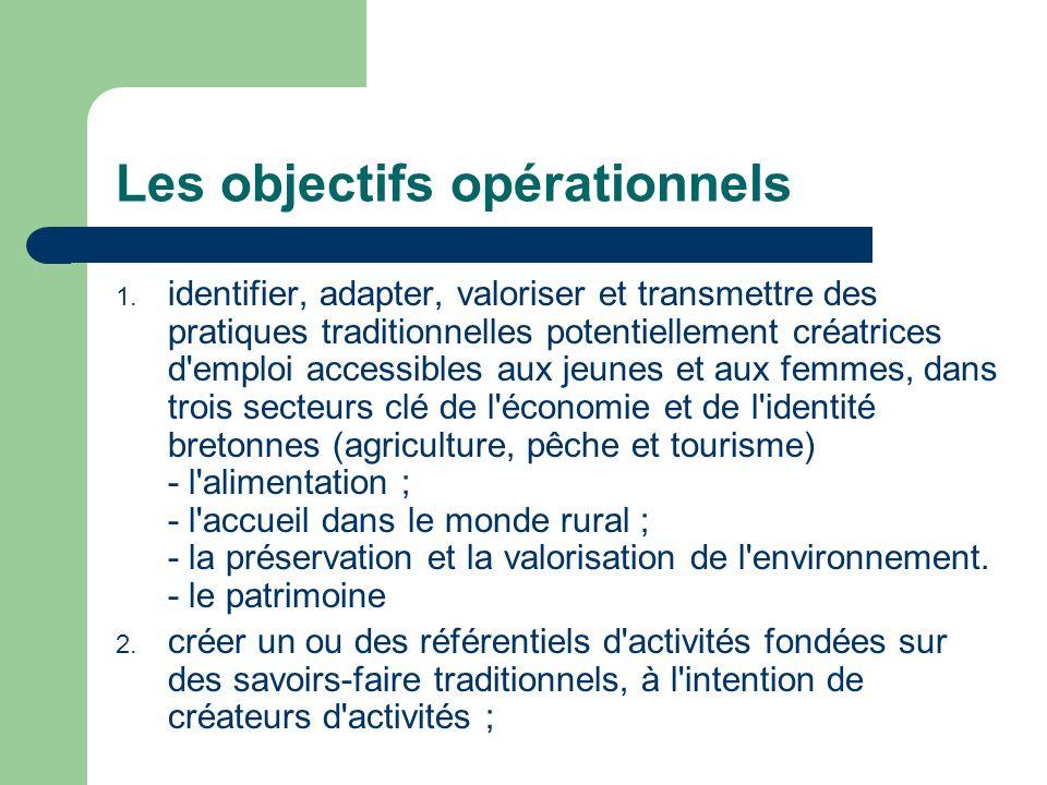 Les objectifs opérationnels 1. identifier, adapter, valoriser et transmettre des pratiques traditionnelles potentiellement créatrices d'emploi accessi