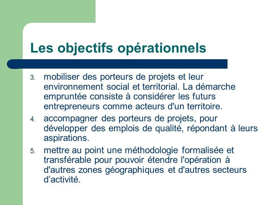 Les objectifs opérationnels 3. mobiliser des porteurs de projets et leur environnement social et territorial. La démarche empruntée consiste à considé