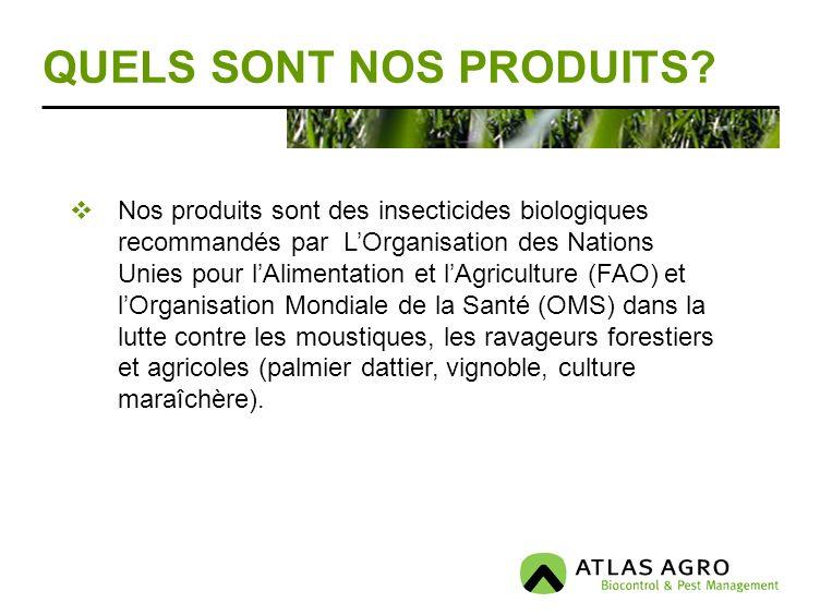 QUELS SONT NOS PRODUITS? Nos produits sont des insecticides biologiques recommandés par LOrganisation des Nations Unies pour lAlimentation et lAgricul