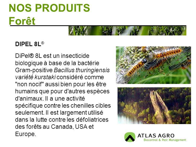 NOS PRODUITS Forêt. DIPEL 8L ® DiPel® 8L est un insecticide biologique à base de la bactérie Gram-positive Bacillus thuringiensis variété kurstaki con