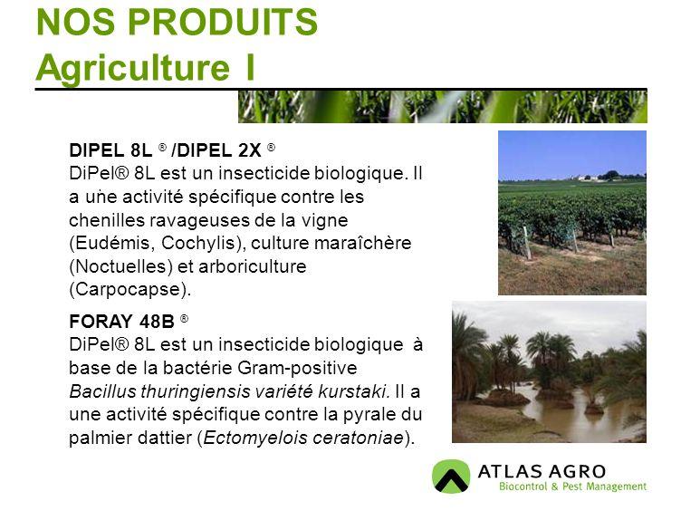 NOS PRODUITS Agriculture I. DIPEL 8L ® /DIPEL 2X ® DiPel® 8L est un insecticide biologique. Il a une activité spécifique contre les chenilles ravageus
