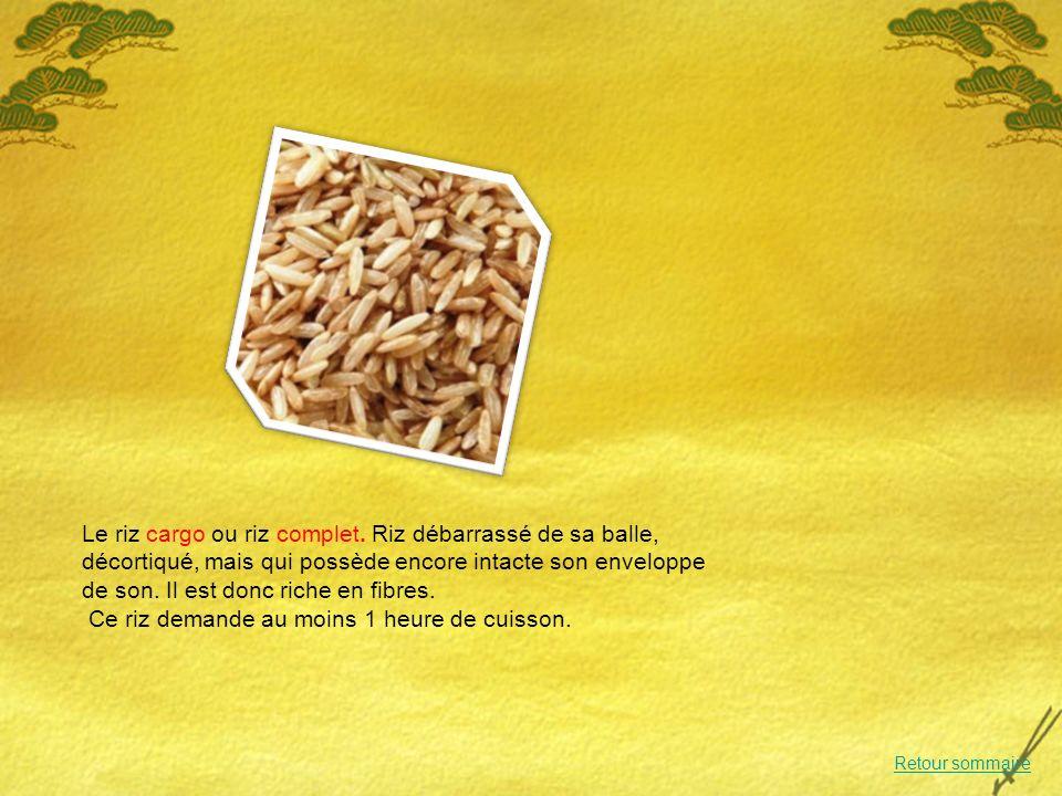 Le riz cargo ou riz complet.