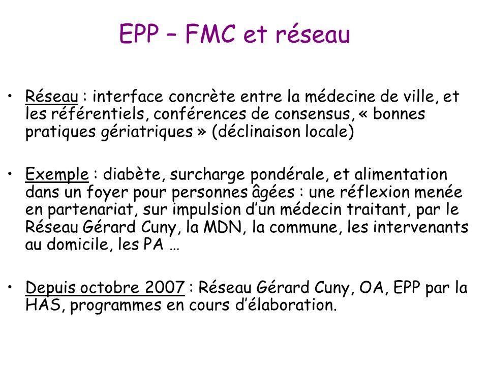 EPP – FMC et réseau Réseau : interface concrète entre la médecine de ville, et les référentiels, conférences de consensus, « bonnes pratiques gériatri