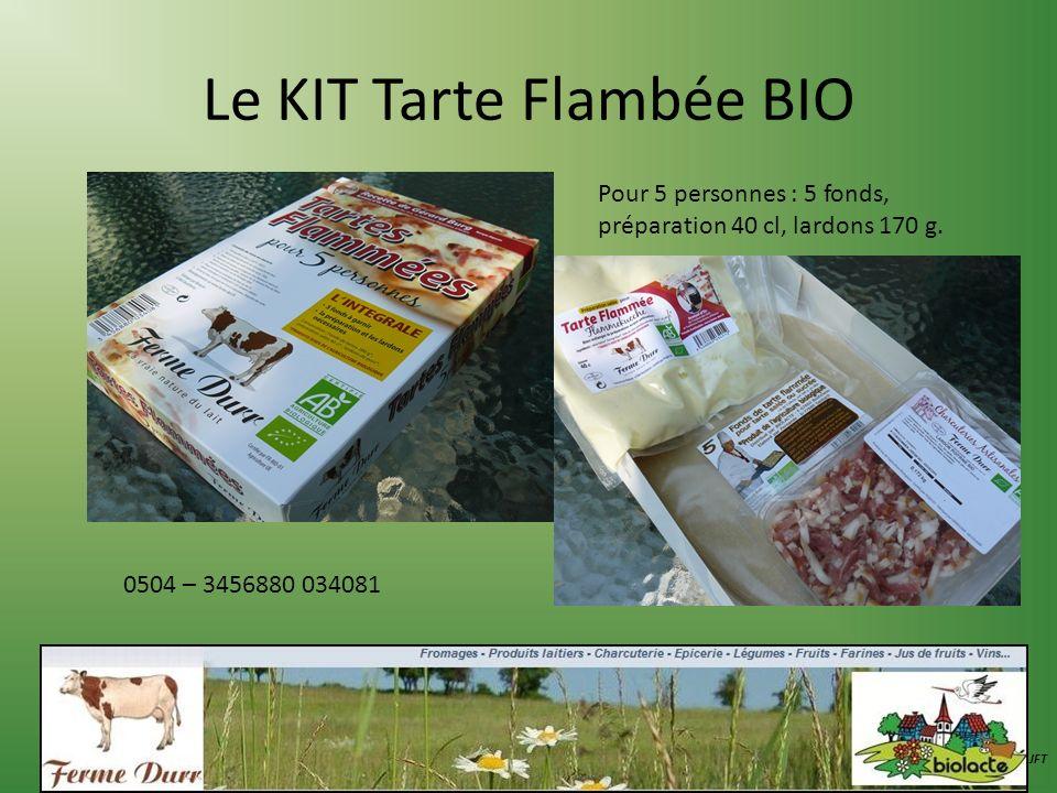 Le KIT Tarte Flambée BIO JFT 0504 – 3456880 034081 Pour 5 personnes : 5 fonds, préparation 40 cl, lardons 170 g.