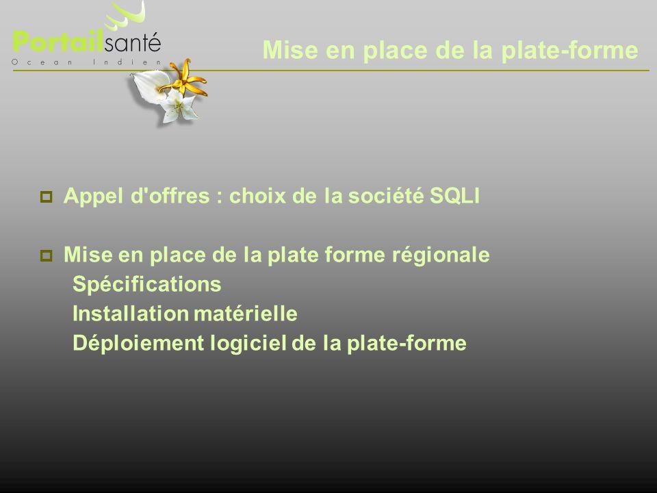 Mise en place de la plate-forme Appel d'offres : choix de la société SQLI Mise en place de la plate forme régionale Spécifications Installation matéri