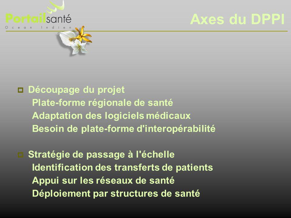Axes du DPPI Découpage du projet Plate-forme régionale de santé Adaptation des logiciels médicaux Besoin de plate-forme d'interopérabilité Stratégie d