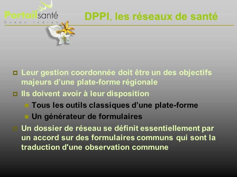 DPPI, les réseaux de santé Leur gestion coordonnée doit être un des objectifs majeurs dune plate-forme régionale Ils doivent avoir à leur disposition