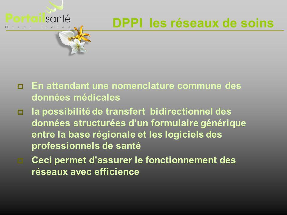 DPPI les réseaux de soins En attendant une nomenclature commune des données médicales la possibilité de transfert bidirectionnel des données structuré
