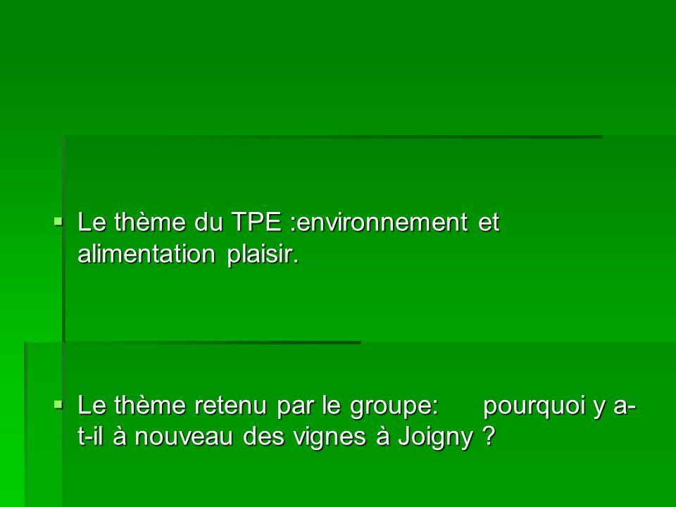 Le thème du TPE :environnement et alimentation plaisir. Le thème du TPE :environnement et alimentation plaisir. Le thème retenu par le groupe: pourquo