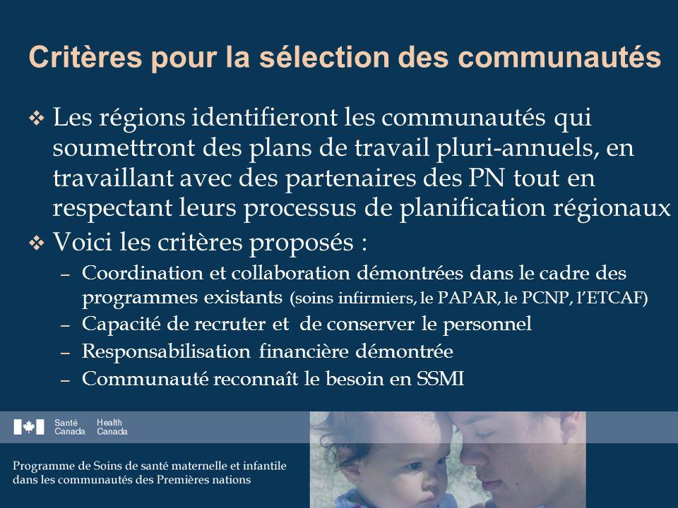 Critères pour la sélection des communautés Les régions identifieront les communautés qui soumettront des plans de travail pluri-annuels, en travaillant avec des partenaires des PN tout en respectant leurs processus de planification régionaux Voici les critères proposés : – Coordination et collaboration démontrées dans le cadre des programmes existants (soins infirmiers, le PAPAR, le PCNP, lETCAF) – Capacité de recruter et de conserver le personnel – Responsabilisation financière démontrée – Communauté reconnaît le besoin en SSMI