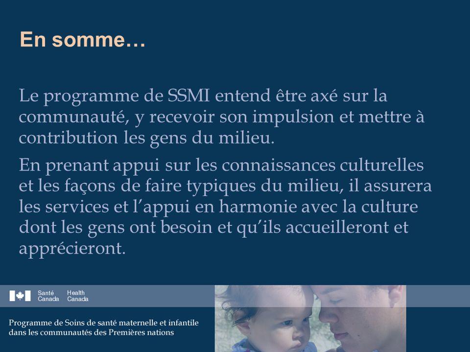 En somme… Le programme de SSMI entend être axé sur la communauté, y recevoir son impulsion et mettre à contribution les gens du milieu.