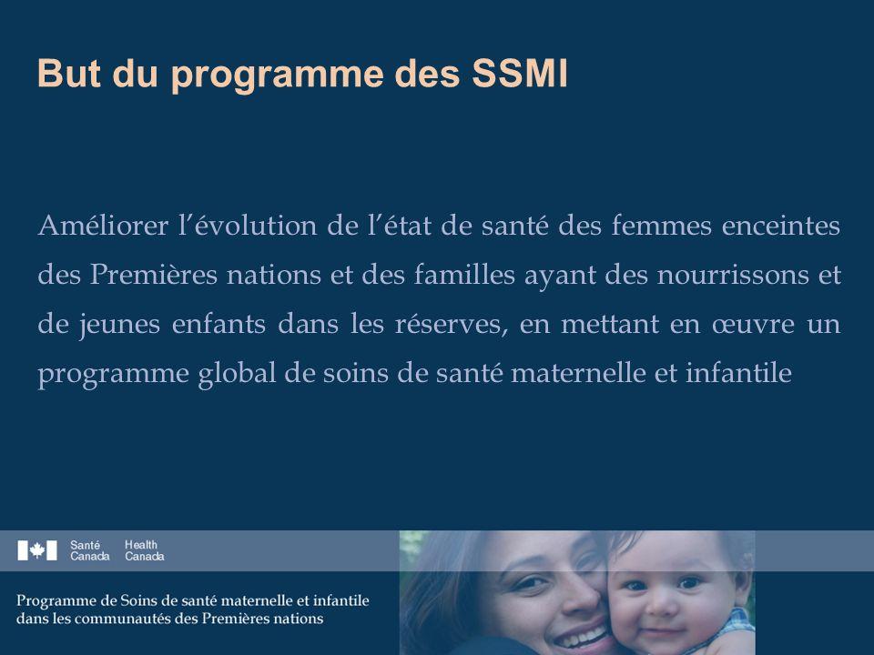 But du programme des SSMI Améliorer lévolution de létat de santé des femmes enceintes des Premières nations et des familles ayant des nourrissons et de jeunes enfants dans les réserves, en mettant en œuvre un programme global de soins de santé maternelle et infantile
