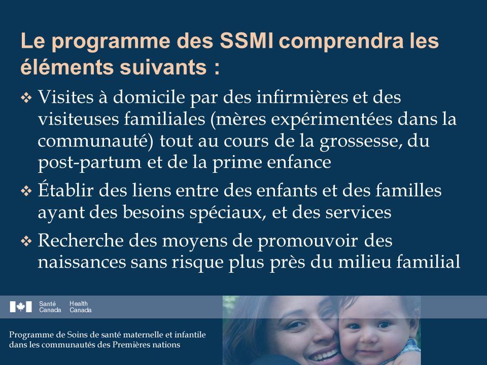 Le programme des SSMI comprendra les éléments suivants : Visites à domicile par des infirmières et des visiteuses familiales (mères expérimentées dans la communauté) tout au cours de la grossesse, du post-partum et de la prime enfance Établir des liens entre des enfants et des familles ayant des besoins spéciaux, et des services Recherche des moyens de promouvoir des naissances sans risque plus près du milieu familial