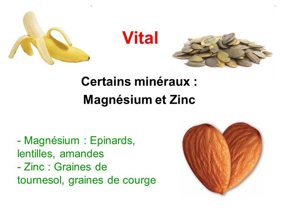 Vital Certains minéraux : Magnésium et Zinc - Magnésium : Epinards, lentilles, amandes - Zinc : Graines de tournesol, graines de courge