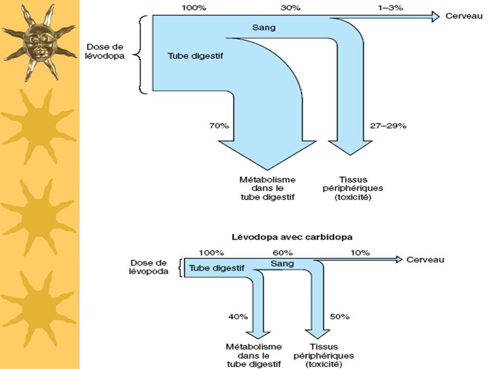 Anti-parkinsoniens à visée substitutive : L-DOPA Médicaments –MODOPAR®: L-Dopa + bensérazide –SINEMET® : L-Dopa + carbidopa 2 inhibiteurs de la dopa-d