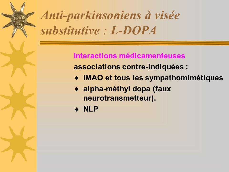 Anti-parkinsoniens à visée substitutive : L-DOPA Interactions médicamenteuses associations contre-indiquées : IMAO et tous les sympathomimétiques alpha-méthyl dopa (faux neurotransmetteur).