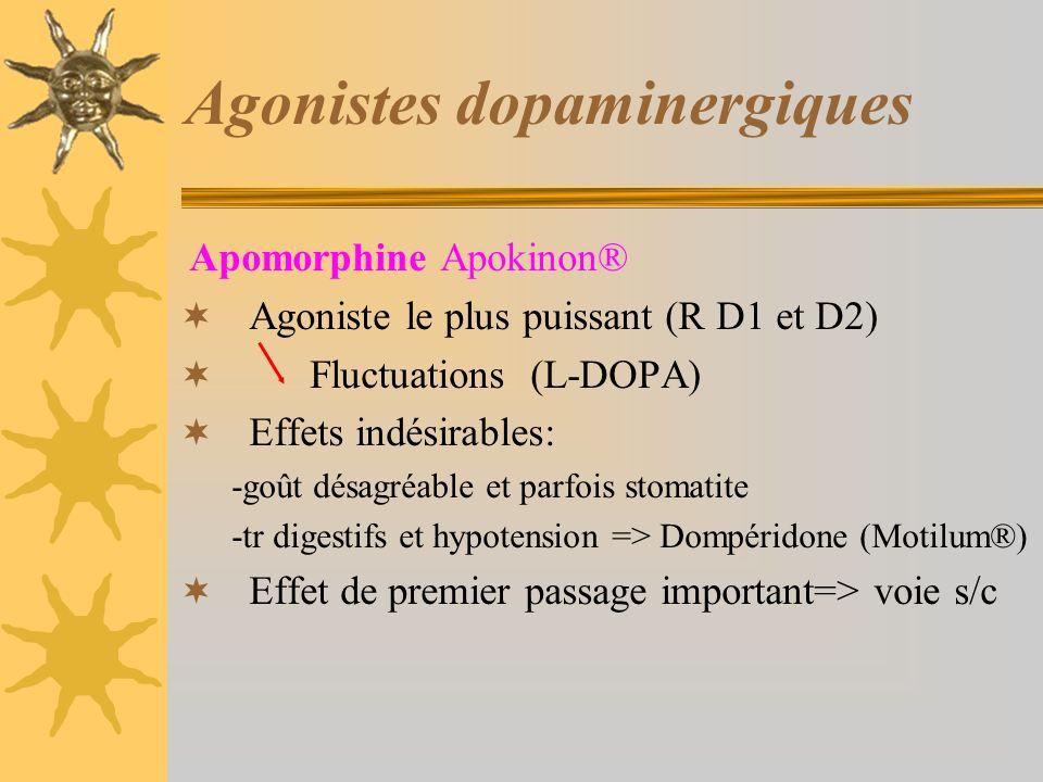 Agonistes dopaminergiques Apomorphine Apokinon® Agoniste le plus puissant (R D1 et D2) Fluctuations (L-DOPA) Effets indésirables: -goût désagréable et parfois stomatite -tr digestifs et hypotension => Dompéridone (Motilum®) Effet de premier passage important=> voie s/c