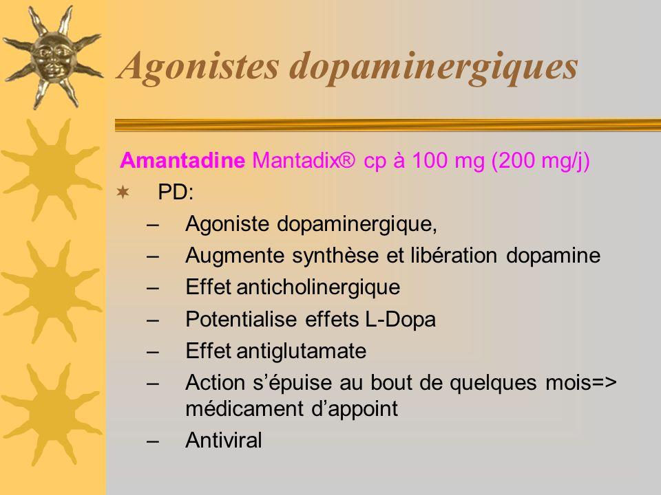 Agonistes dopaminergiques Amantadine Mantadix® cp à 100 mg (200 mg/j) PD: –Agoniste dopaminergique, –Augmente synthèse et libération dopamine –Effet anticholinergique –Potentialise effets L-Dopa –Effet antiglutamate –Action sépuise au bout de quelques mois=> médicament dappoint –Antiviral