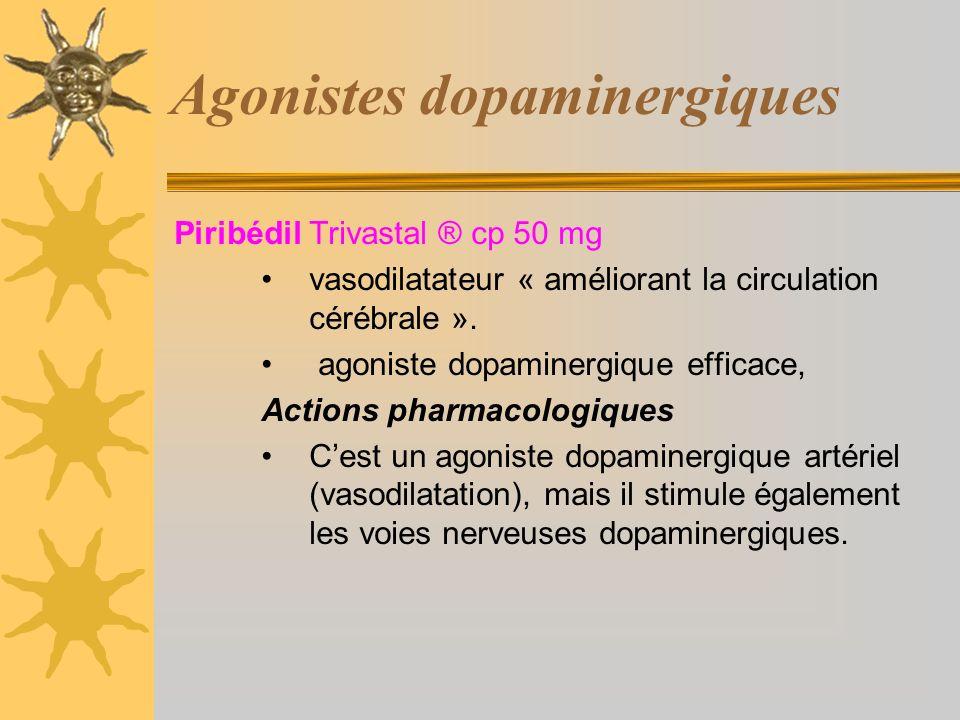 Agonistes dopaminergiques Piribédil Trivastal ® cp 50 mg vasodilatateur « améliorant la circulation cérébrale ».