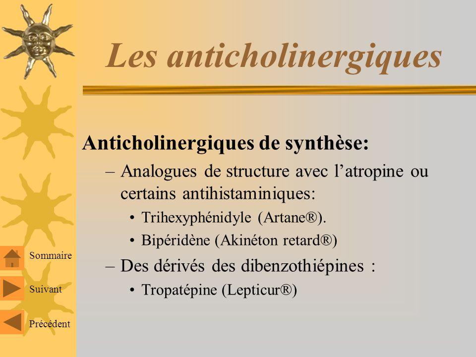 Les anticholinergiques Anticholinergiques de synthèse: –Analogues de structure avec latropine ou certains antihistaminiques: Trihexyphénidyle (Artane®).