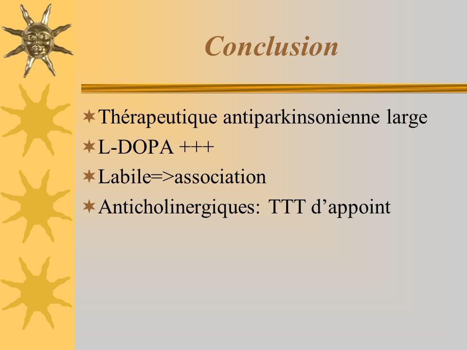 Conclusion Thérapeutique antiparkinsonienne large L-DOPA +++ Labile=>association Anticholinergiques: TTT dappoint