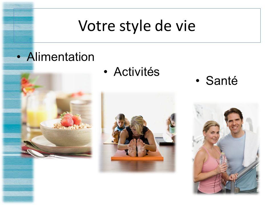 Votre style de vie Alimentation Activités Santé