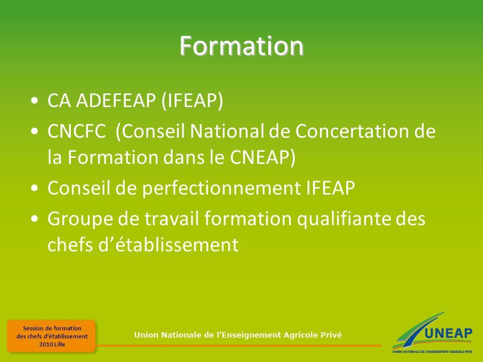 Session de formation des chefs détablissement 2010 Lille Formation CA ADEFEAP (IFEAP) CNCFC (Conseil National de Concertation de la Formation dans le CNEAP) Conseil de perfectionnement IFEAP Groupe de travail formation qualifiante des chefs détablissement
