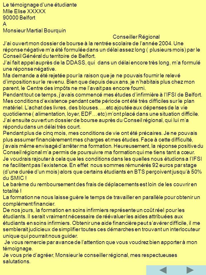 Le témoignage dune étudiante Mlle Elise XXXXX 90000 Belfort A Monsieur Martial Bourquin Conseiller Régional Jai ouvert mon dossier de bourse à la rentrée scolaire de lannée 2004.