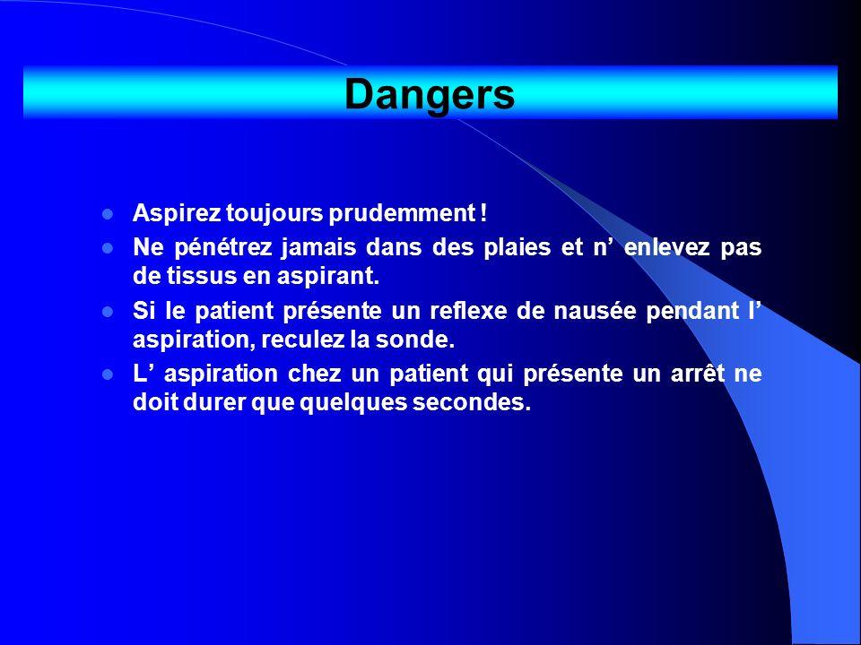 Dangers Aspirez toujours prudemment ! Ne pénétrez jamais dans des plaies et n enlevez pas de tissus en aspirant. Si le patient présente un reflexe de
