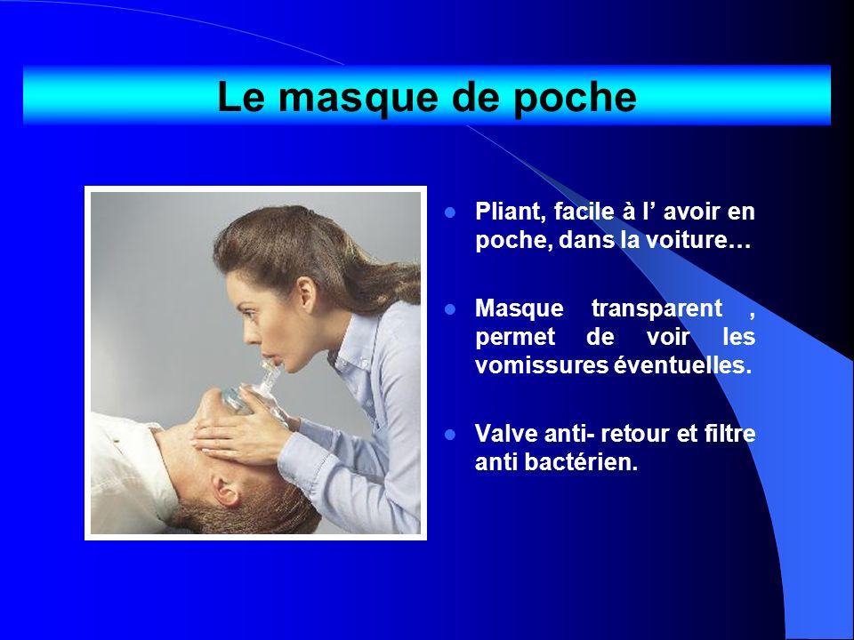 Le masque de poche Pliant, facile à l avoir en poche, dans la voiture… Masque transparent, permet de voir les vomissures éventuelles. Valve anti- reto