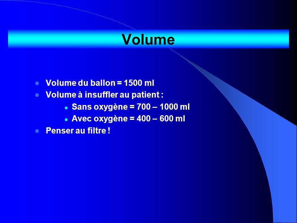 Volume Volume du ballon = 1500 ml Volume à insuffler au patient : Sans oxygène = 700 – 1000 ml Avec oxygène = 400 – 600 ml Penser au filtre !