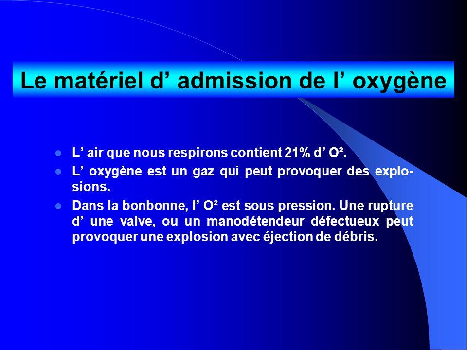 Le matériel d admission de l oxygène L air que nous respirons contient 21% d O². L oxygène est un gaz qui peut provoquer des explo- sions. Dans la bon