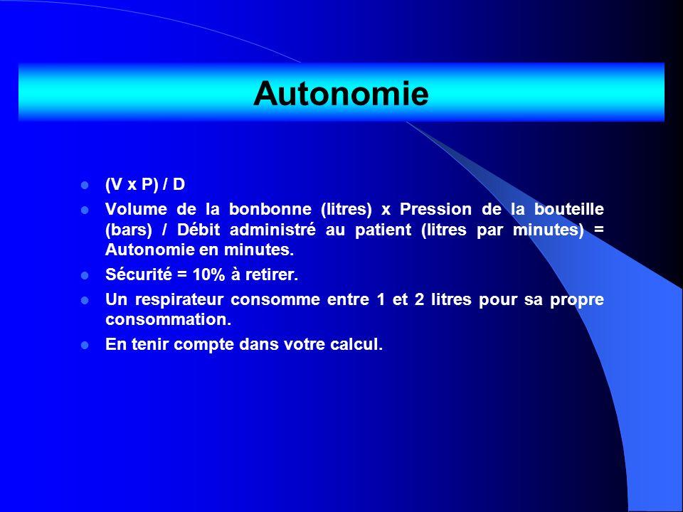Autonomie (V x P) / D Volume de la bonbonne (litres) x Pression de la bouteille (bars) / Débit administré au patient (litres par minutes) = Autonomie