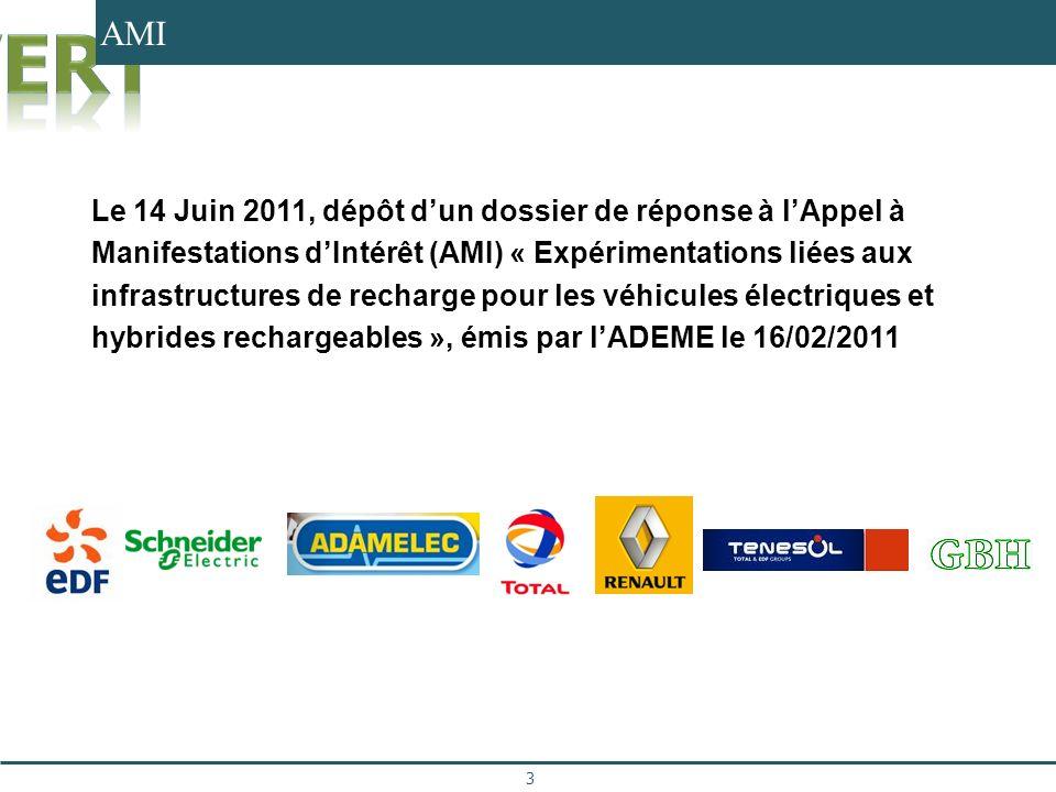 AMI 3 Le 14 Juin 2011, dépôt dun dossier de réponse à lAppel à Manifestations dIntérêt (AMI) « Expérimentations liées aux infrastructures de recharge