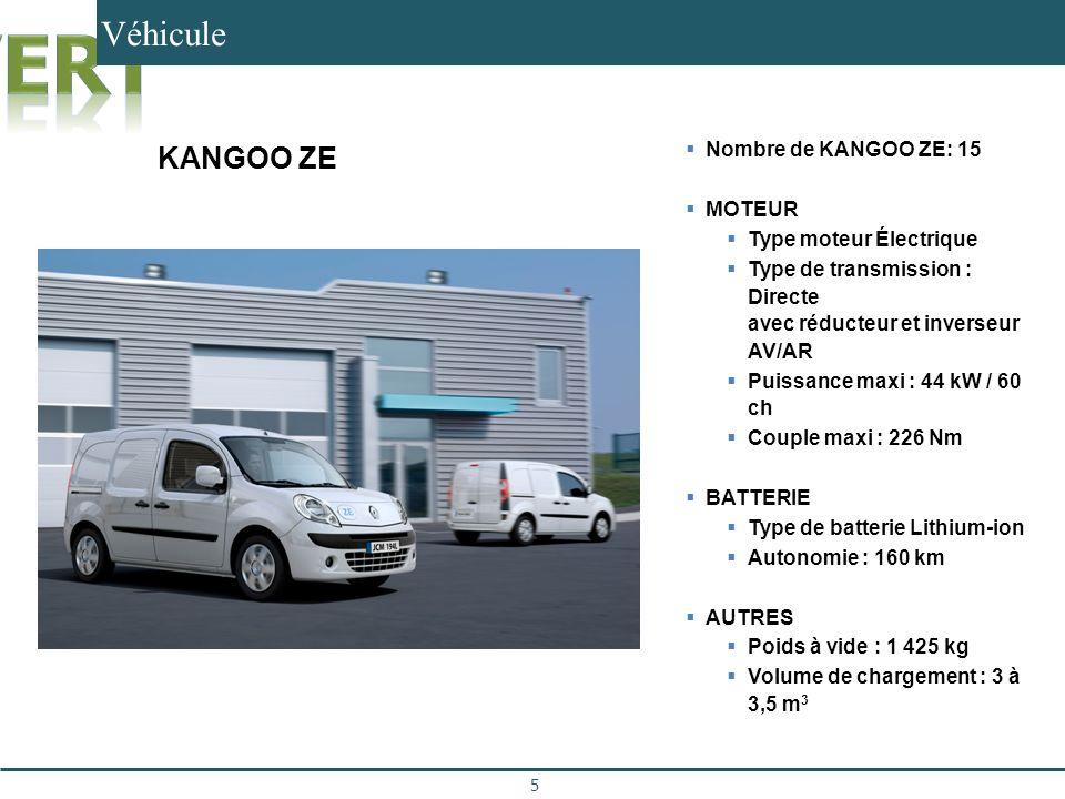 Véhicule 5 15 Kangoo ZE Nombre de KANGOO ZE: 15 MOTEUR Type moteur Électrique Type de transmission : Directe avec réducteur et inverseur AV/AR Puissan