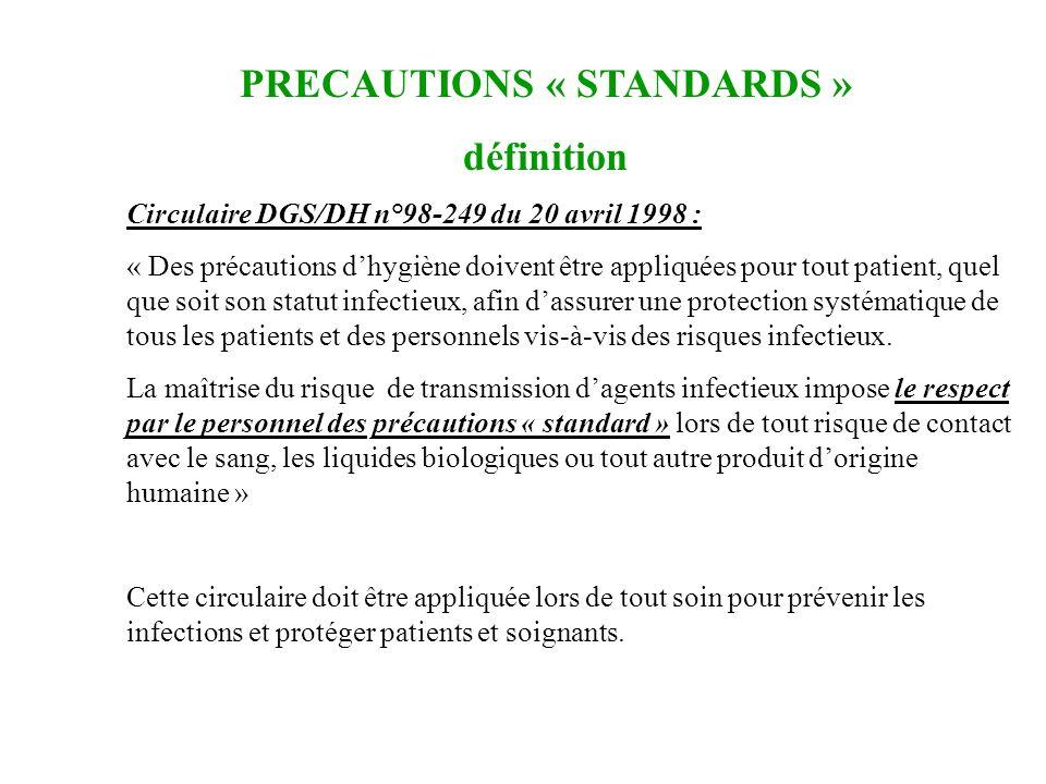 Circulaire DGS/DH n°98-249 du 20 avril 1998 : « Des précautions dhygiène doivent être appliquées pour tout patient, quel que soit son statut infectieu