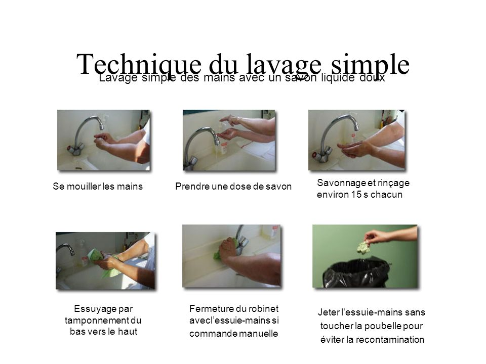 Technique du lavage simple Lavage simple des mains avec un savon liquide doux Se mouiller les mains Prendre une dose de savon Savonnage et rinçage env