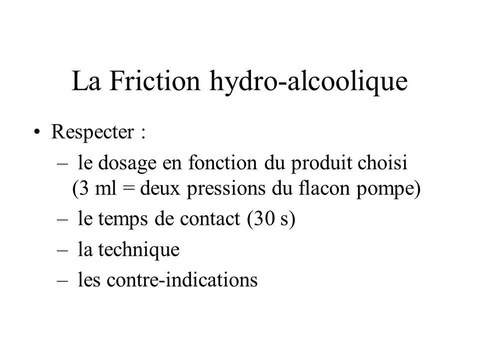 La Friction hydro-alcoolique Respecter : – le dosage en fonction du produit choisi (3 ml = deux pressions du flacon pompe) – le temps de contact (30 s