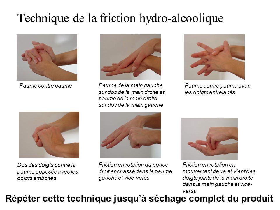 Répéter cette technique jusquà séchage complet du produit Technique de la friction hydro-alcoolique Paume contre paume Paume de la main gauche sur dos