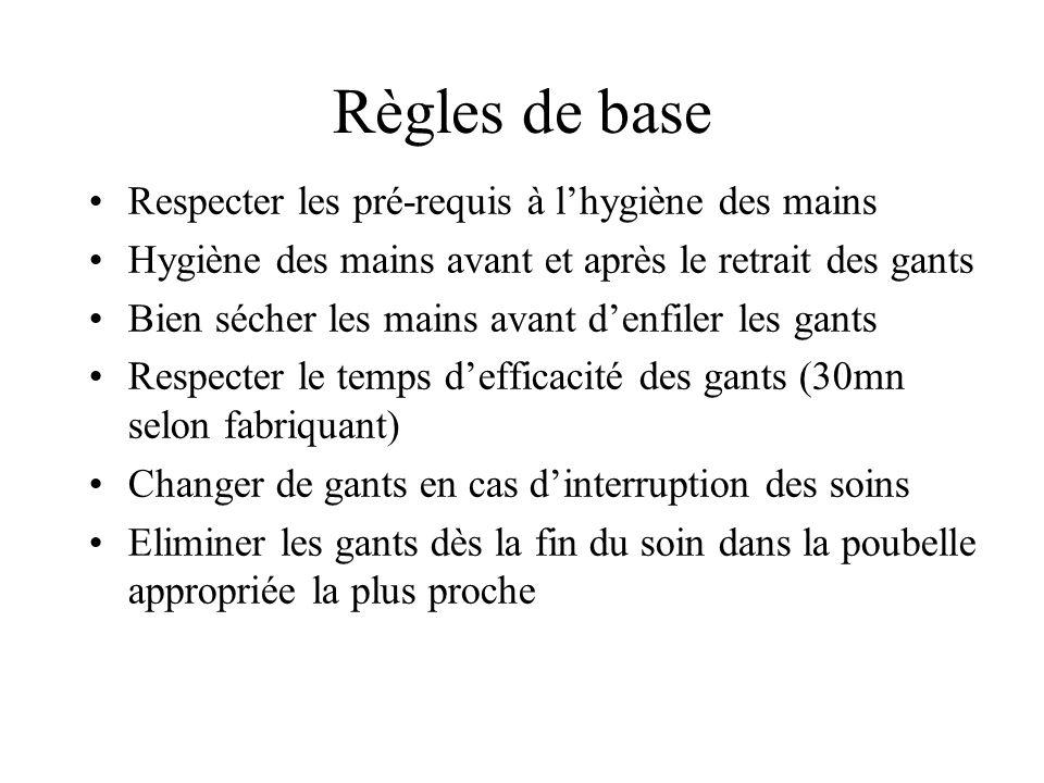 Règles de base Respecter les pré-requis à lhygiène des mains Hygiène des mains avant et après le retrait des gants Bien sécher les mains avant denfile