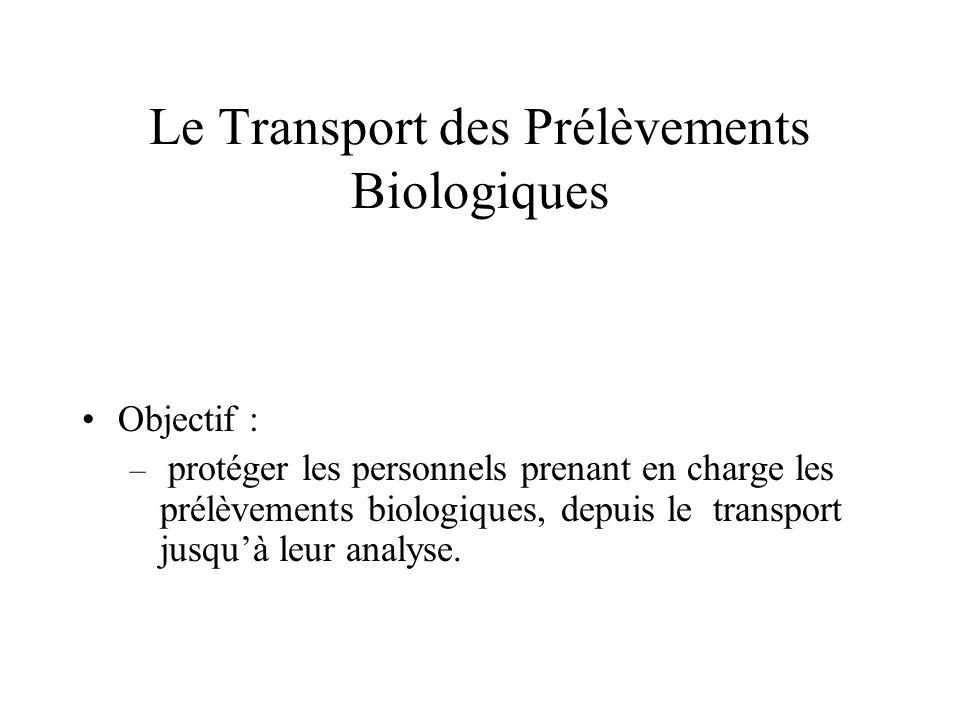 Objectif : – protéger les personnels prenant en charge les prélèvements biologiques, depuis le transport jusquà leur analyse.