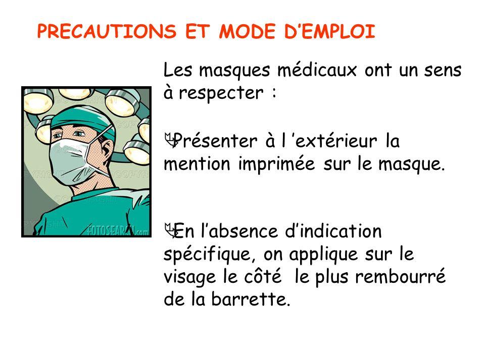 PRECAUTIONS ET MODE DEMPLOI Les masques médicaux ont un sens à respecter : Présenter à l extérieur la mention imprimée sur le masque. En labsence dind