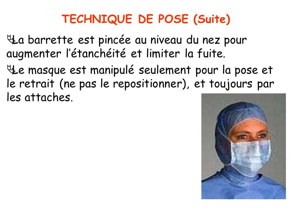 TECHNIQUE DE POSE (Suite) La barrette est pincée au niveau du nez pour augmenter létanchéité et limiter la fuite. Le masque est manipulé seulement pou