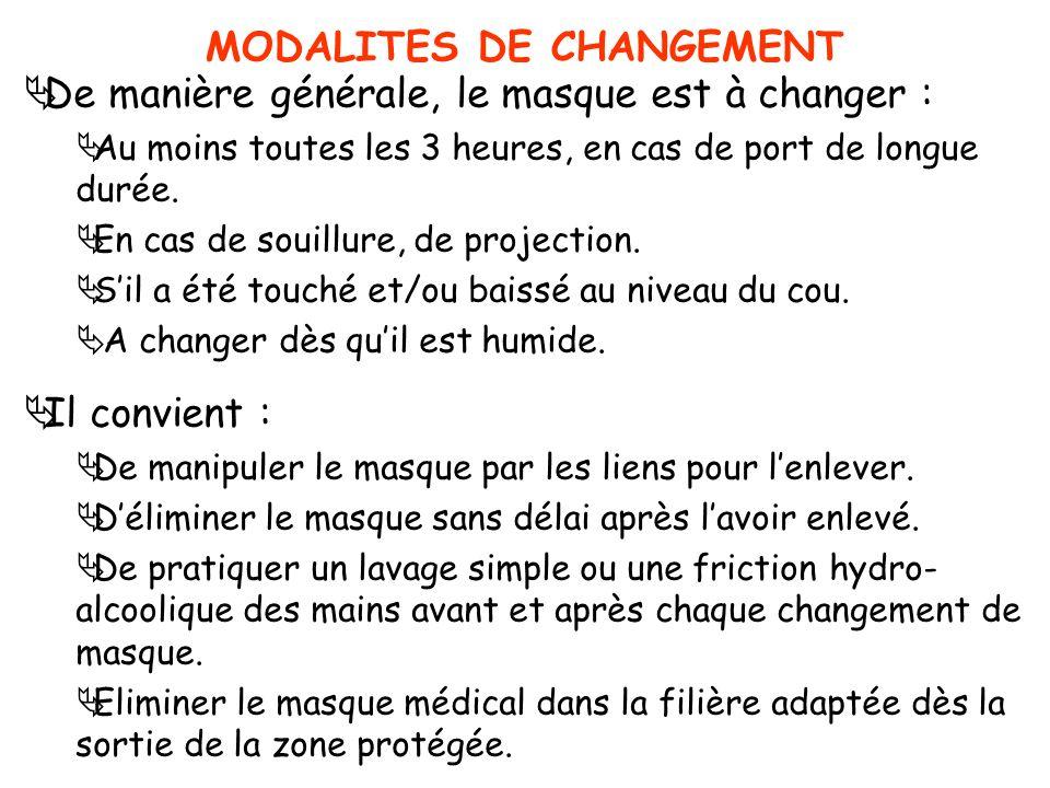 MODALITES DE CHANGEMENT De manière générale, le masque est à changer : Au moins toutes les 3 heures, en cas de port de longue durée. En cas de souillu