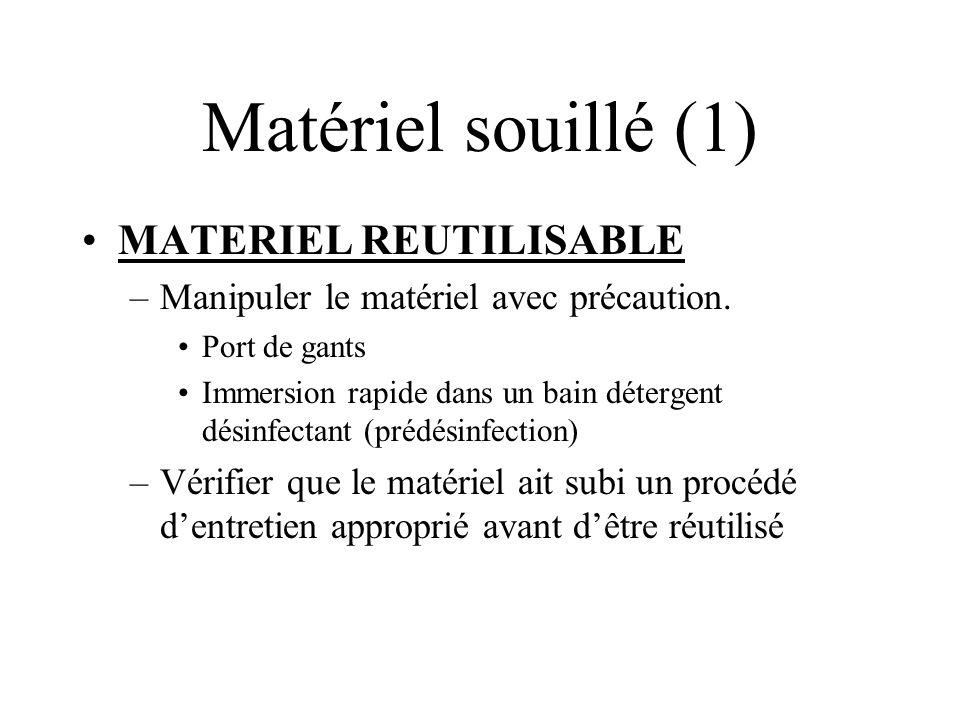 Matériel souillé (1) MATERIEL REUTILISABLE –Manipuler le matériel avec précaution. Port de gants Immersion rapide dans un bain détergent désinfectant