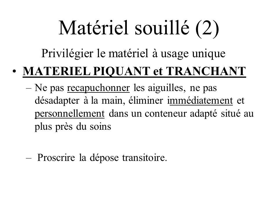 Matériel souillé (2) Privilégier le matériel à usage unique MATERIEL PIQUANT et TRANCHANT –Ne pas recapuchonner les aiguilles, ne pas désadapter à la