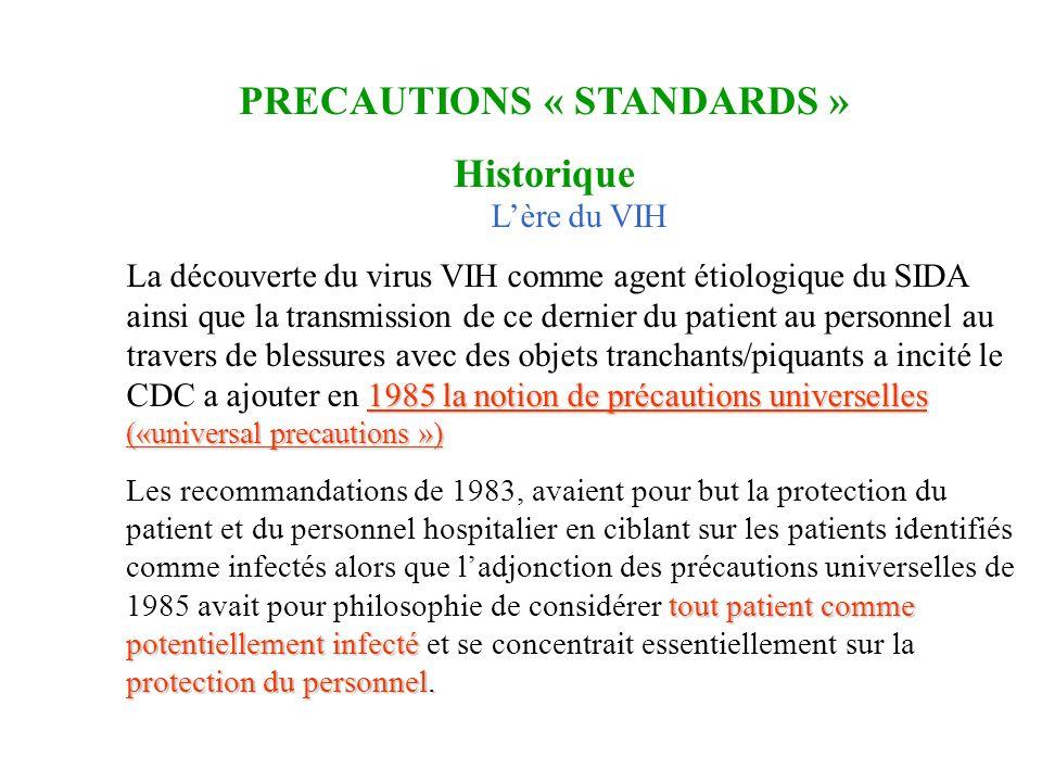 Lère du VIH 1985 la notion de précautions universelles («universal precautions ») La découverte du virus VIH comme agent étiologique du SIDA ainsi que