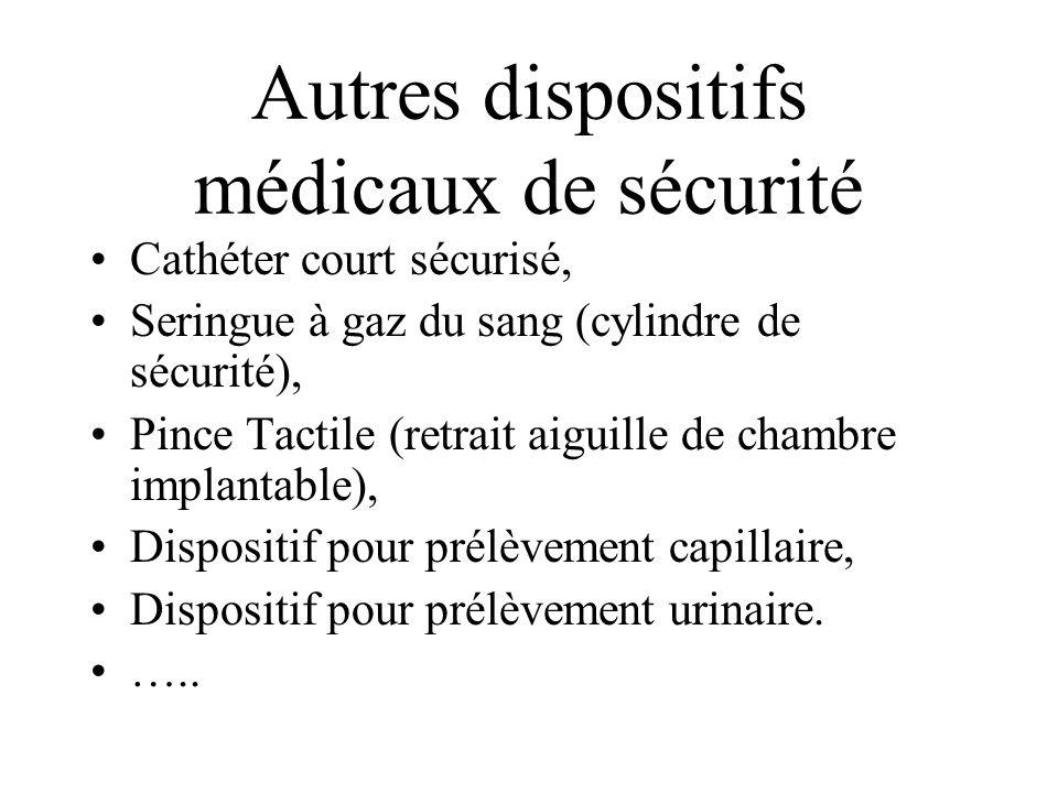 Autres dispositifs médicaux de sécurité Cathéter court sécurisé, Seringue à gaz du sang (cylindre de sécurité), Pince Tactile (retrait aiguille de cha